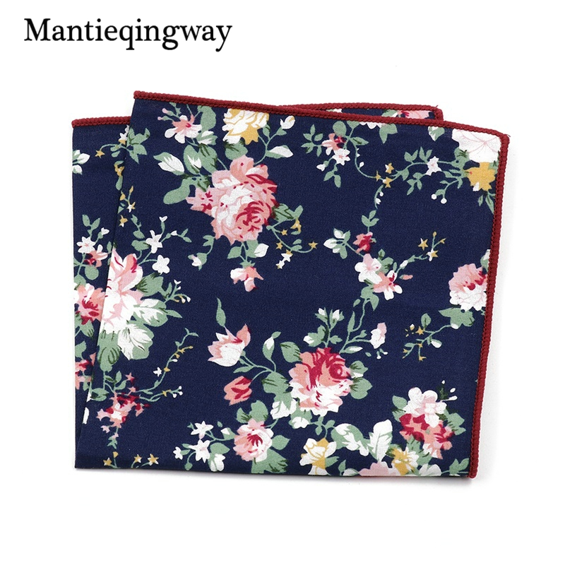 Mantieqingway Cotton+Polyester Handkerchief Floral Printed Pocket Square Wedding 23cm*23cm Hankies For Men Brand Pocket Towel
