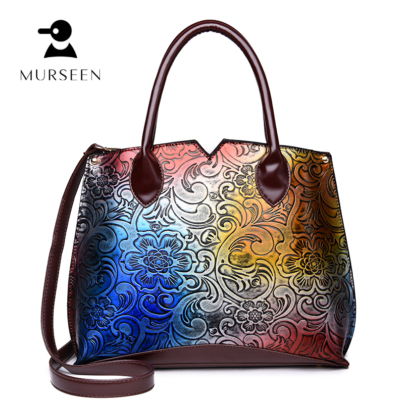 2018 Luxury Brand women leather Handbags Famous Designer ladies High Quality Vintage Flower Leather Shoulder Bags Female mochila
