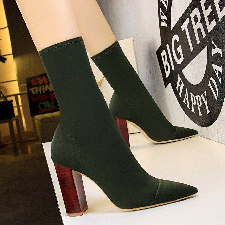 Koovan Women's Boots Suede Simple Wood Thick Heels High Heel Pointed Elastic Lycra Sexy Nightclub Slim Boots Women Shoes