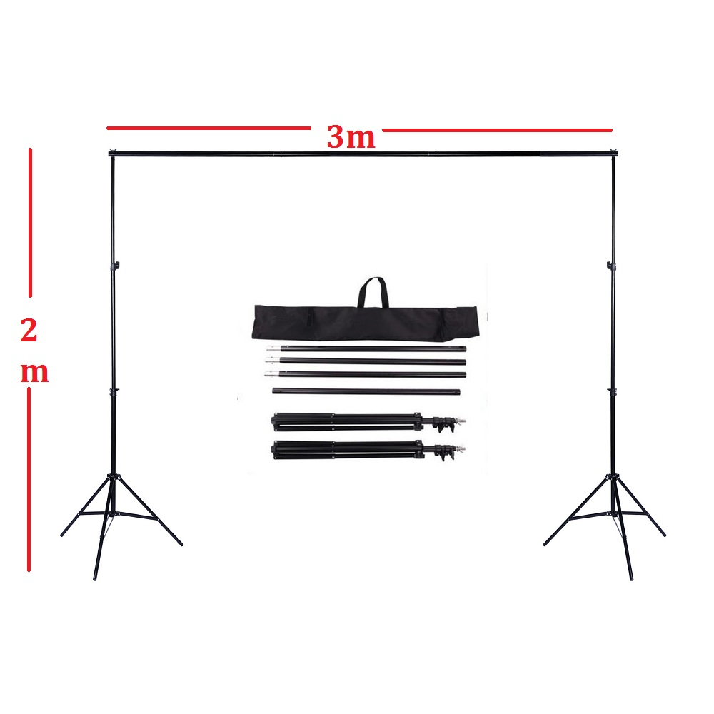 2 x 3m 6.6FT X 9.8FT Adjustable Backdrop Stand Crossbar Kit Set Photography Background Support System for Muslins Backdrops 2 8m x 3m pro adjustable background support stand photo backdrop crossbar kit photography stand 3 clips for photo studio