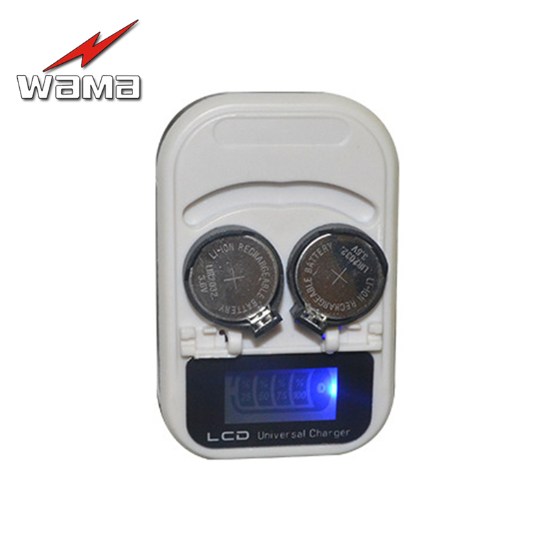Wama 2-Slot LIR2032 LIR2025 LIR2016 3.6V Rechargeable Lithium Button Cell Coin Battery Charger LCD Indicator intelligent US Plug