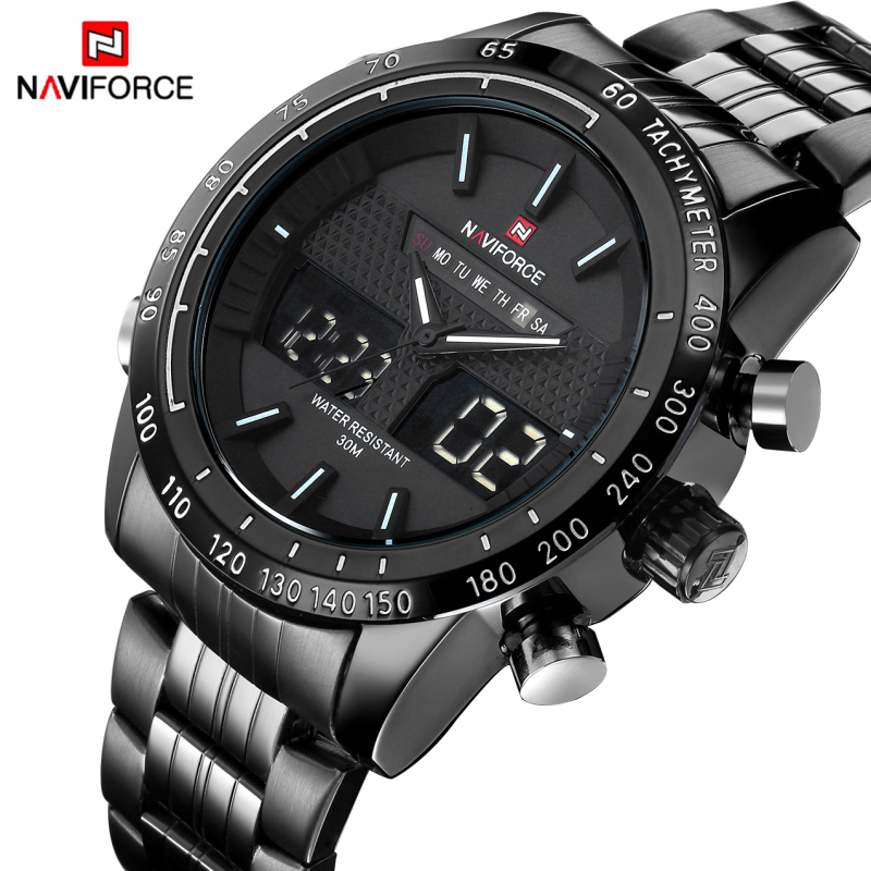 все цены на 2017 Luxury Brand Men Sports Watches Men's Quartz Analog LED Clock Male Full Steel Army Military Wrist Watch relogio masculino в интернете
