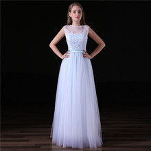 Long Blue Evening Dresses 2018 A Line O Neck Prom Dress