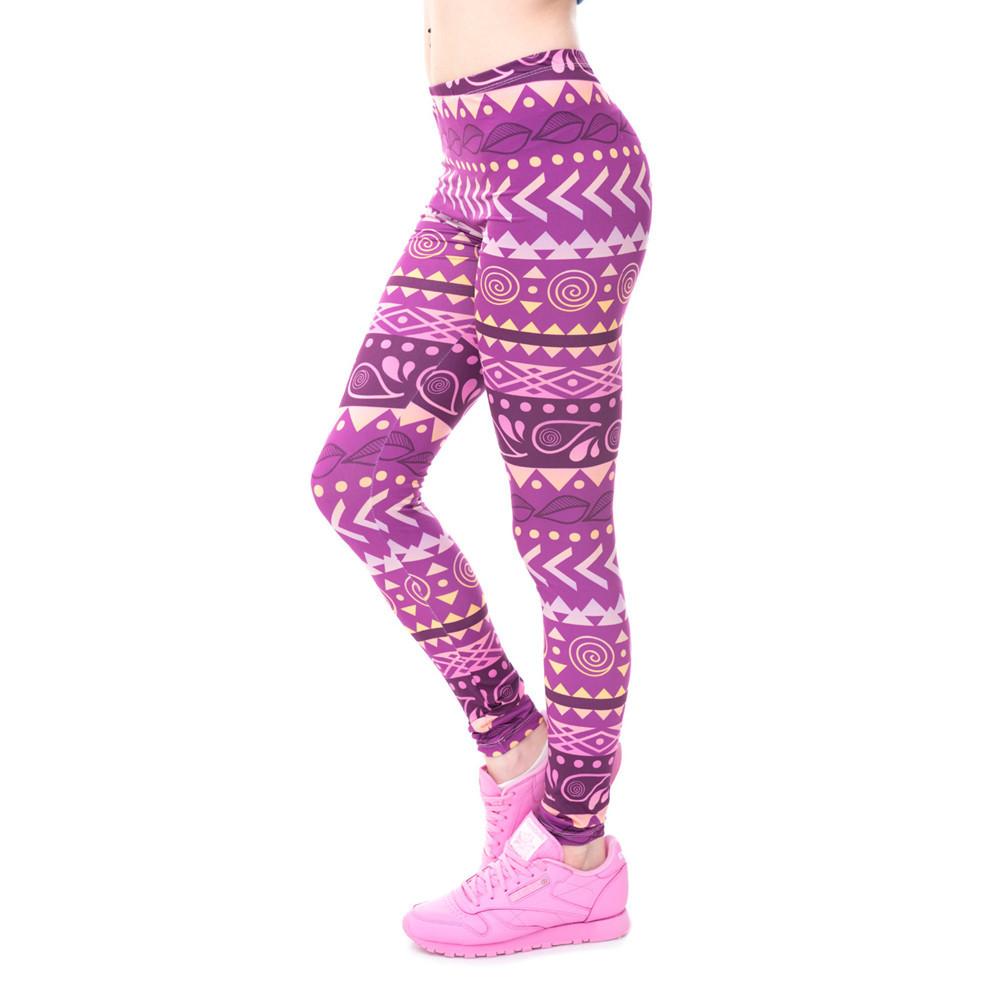 Zohra Brands Women Fashion Legging Aztec Round Ombre Printing leggins Slim High Waist Leggings Woman Pants 28