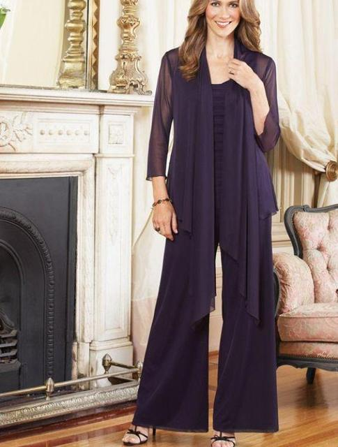 2016 Chiffon Summer Purple Mother Of The Bride Pant Suits With ...