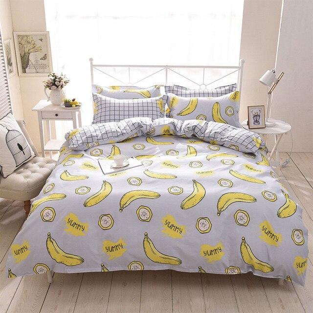 Cartoon Fruit Banana Bedding Set Kids Teen Childs Plaid Full Queen King  Double Home Textiles Flat