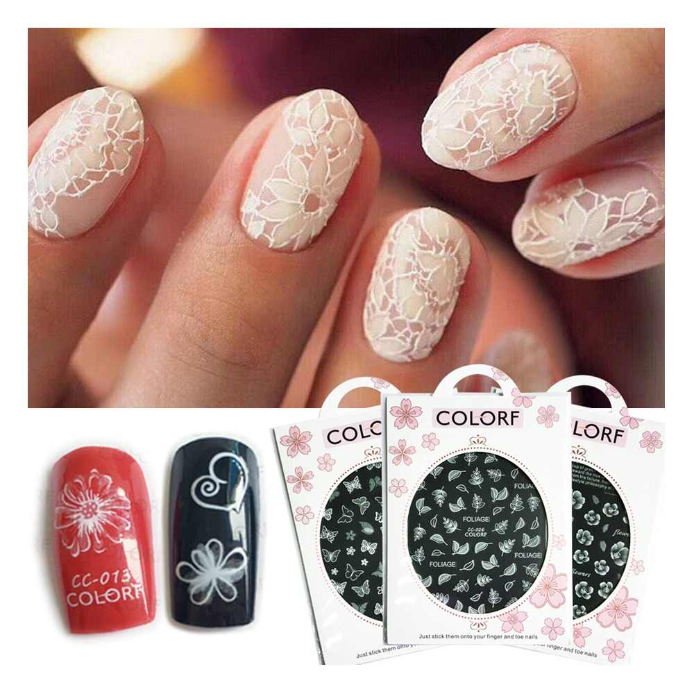 1pcs Nail Art Stickers White Flowers Lace 3D Wraps Decal Self Adhesive Charm Butterfly Manicure Slider Decor Tips JICC001-027