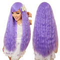 Women Girl Instant Noodles Curly Hair Wigs Fashion Cosplay Wig Corn Ironing Fluffy Purple HB88