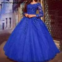 Бальные платья цветочные кружева аппликация Длинные рукава Выпускные платья королевский синий v образный вырез сладкое 16 платье для выпуск