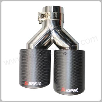 Modelo Y doble fibra de carbono Acero inoxidable universal Auto akrapovic tubo de escape de doble extremo