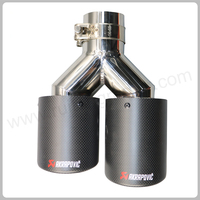 Y Model Dual Carbon fiber stainless steel universal Auto akrapovic exhaust tip Double end pipe