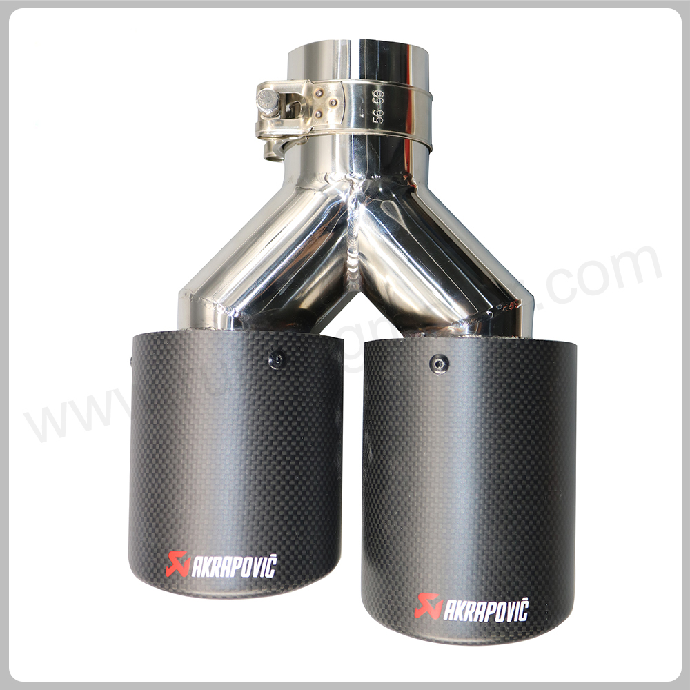 Stainless Steel 63mm 89mm Car Exhaust Tip Carbon Fiber Exhaust Muffler Dual Tips