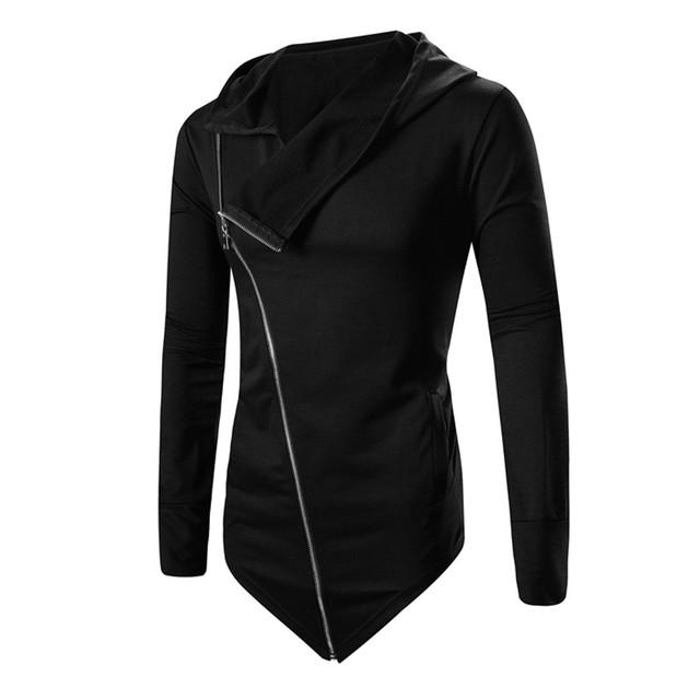 Otoño Invierno Nueva Moda Para Hombre de Color Sólido Cremallera Oblicua Tops Camisa de Los Hombres Casual Manga Larga Solapa Delgada Blusa Camisa Nov17