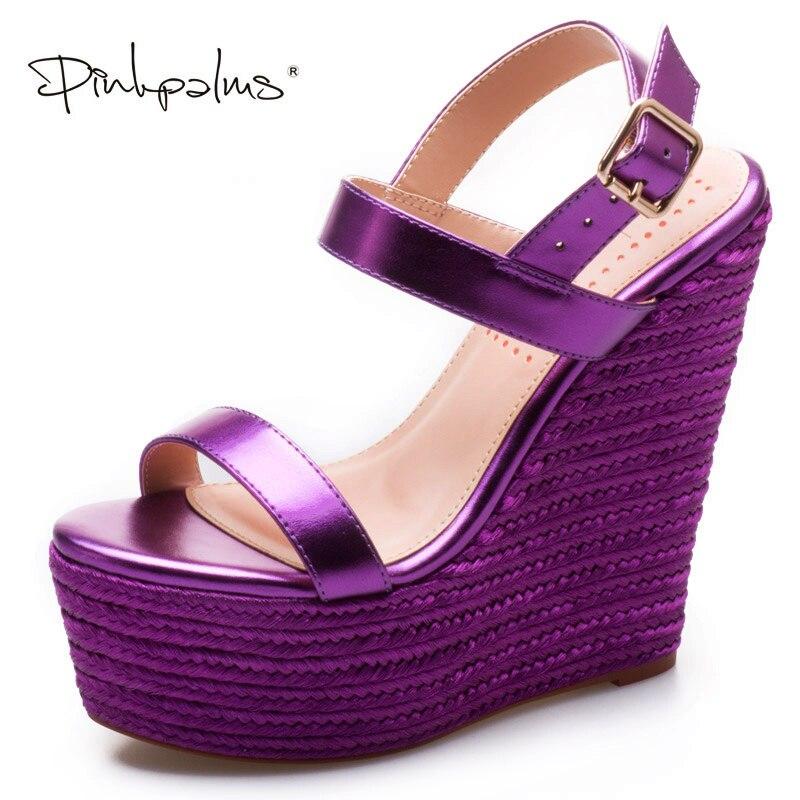 Pink Palms Women Shoes sandalias mujer 2018 Platform Sandals High Heels Shoes Ankle Strap Ladies Sandals