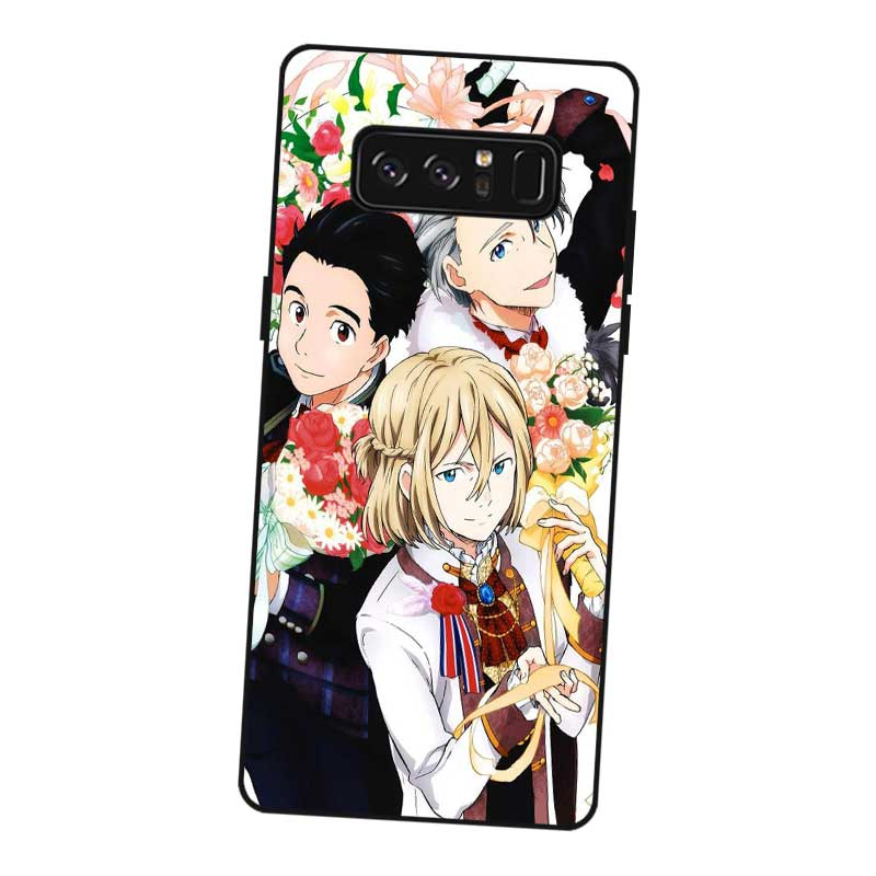 P249 Yuri On Ice Black Silicone Case Cover For Samsung Galaxy Note 3 4 5 8 9 M10 M20 M30 in Fitted Cases from Cellphones Telecommunications
