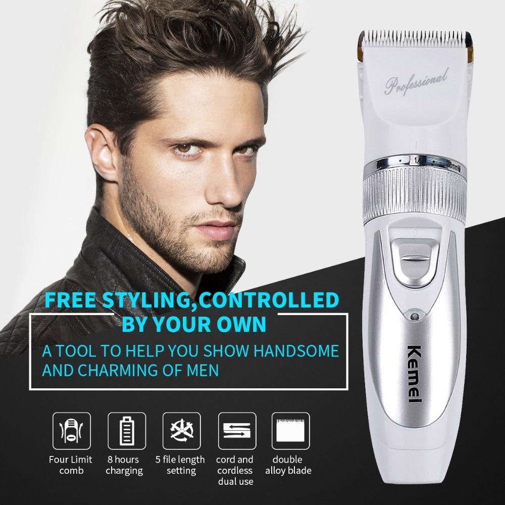 все цены на kemei Professional Ceramic Titanium Blade Electric Hair Clipper Trimmer Barber Cutter Soundless Haircut Cutting Machine For Men онлайн