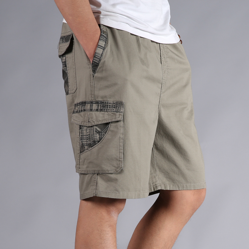 Men Shorts Summer Plus Size 40 42 44 46 Cotton Elastic Waist Loose Army Green Male Cargo Shorts For Man Casual Short-Pants