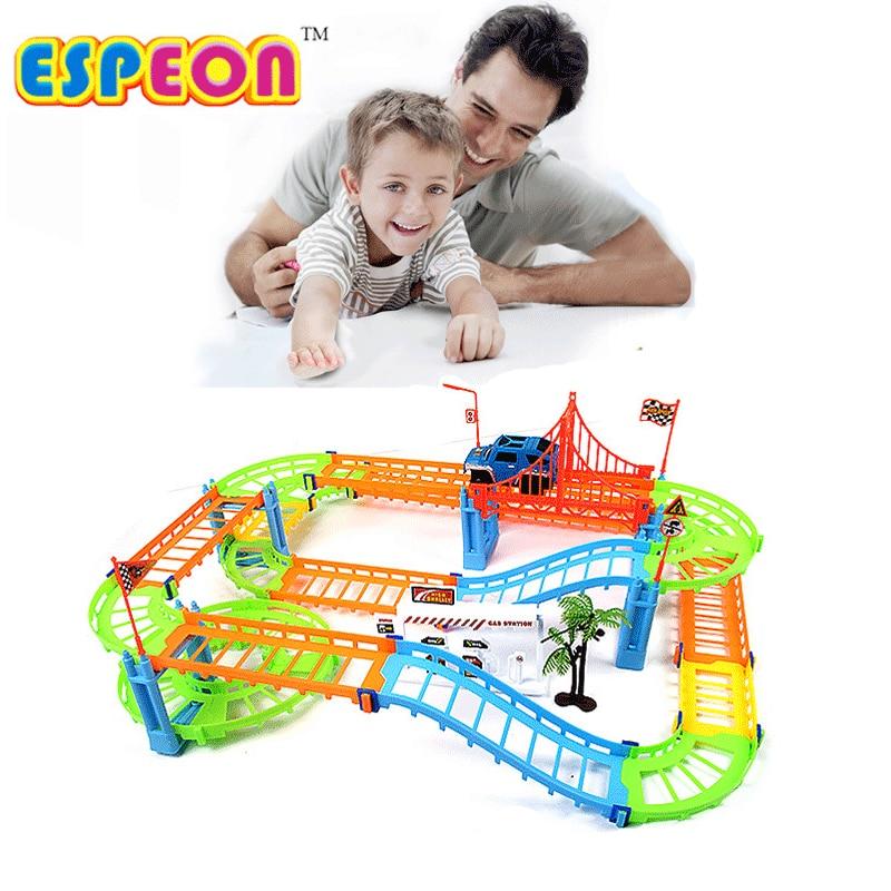 Electric Thomas Rail Tracks Flexible kids train set model slot toy baby racing car double orbit car birthday gift for children