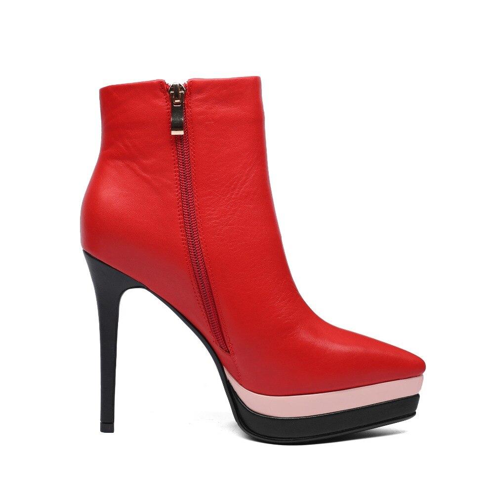 Arden Furtado 2018 wiosna jesień zimowe na wysokim obcasie 12 cm szpilki paski platformy czerwone kostki buty modne buty matin buty nowe w Buty do kostki od Buty na  Grupa 2