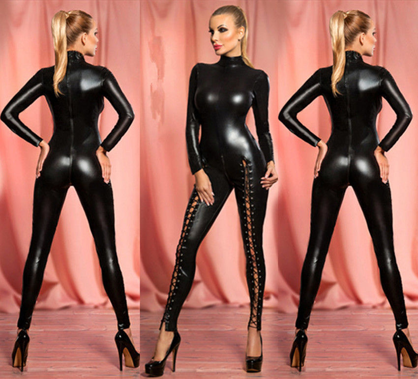 663868caa53 Women s Sexy Hollow Out Rivet Latex Leather Catsuit Wet Look Shiny fancy Costume  jumpsuit
