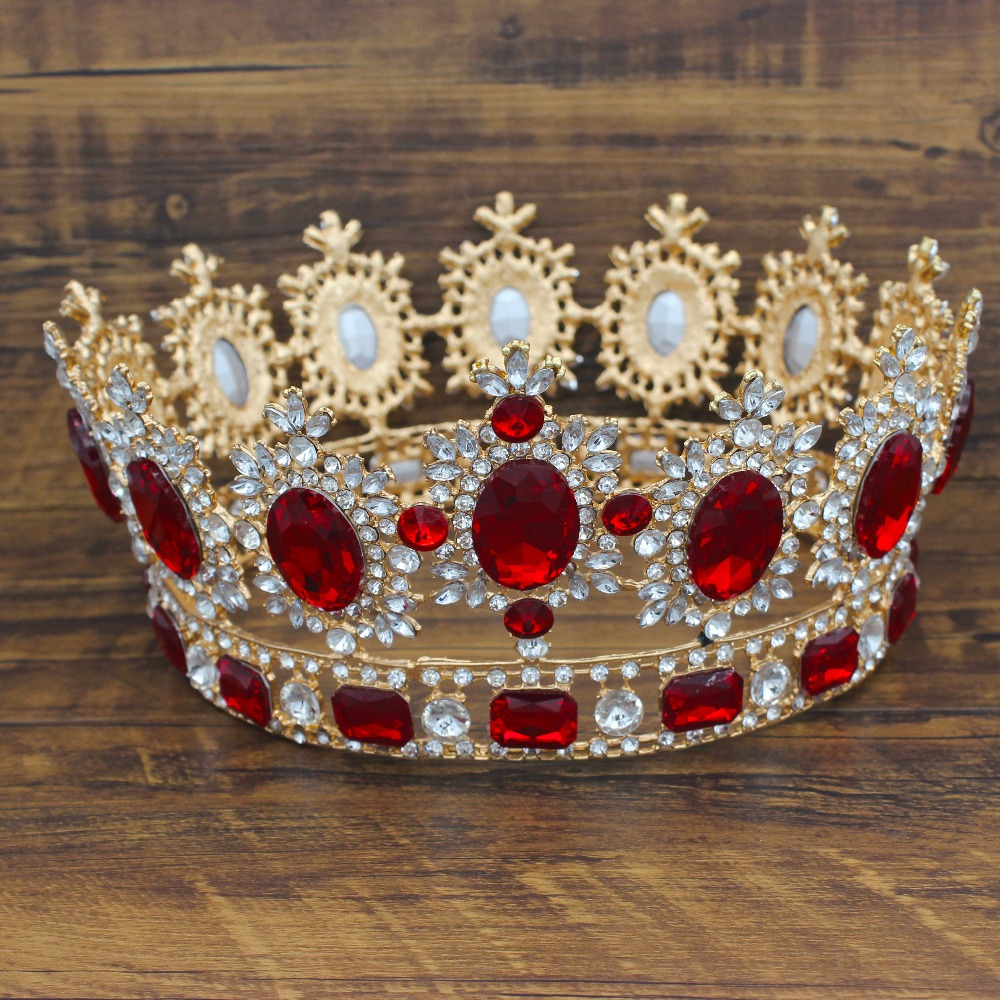 Gorgeous Large Crystal Baroque Wedding Bridal Tiaras and Crowns Headpiece Women Diadem Wedding Bride Hair Jewelry Accessories 03 red gold bride wedding hair tiaras ancient chinese empress hat bride hair piece