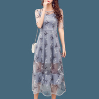 Summer Mesh Patchwork Lace Dress Women O neck Work Casual Party Slim Sexy White Long Dresses Vintage Vestidos