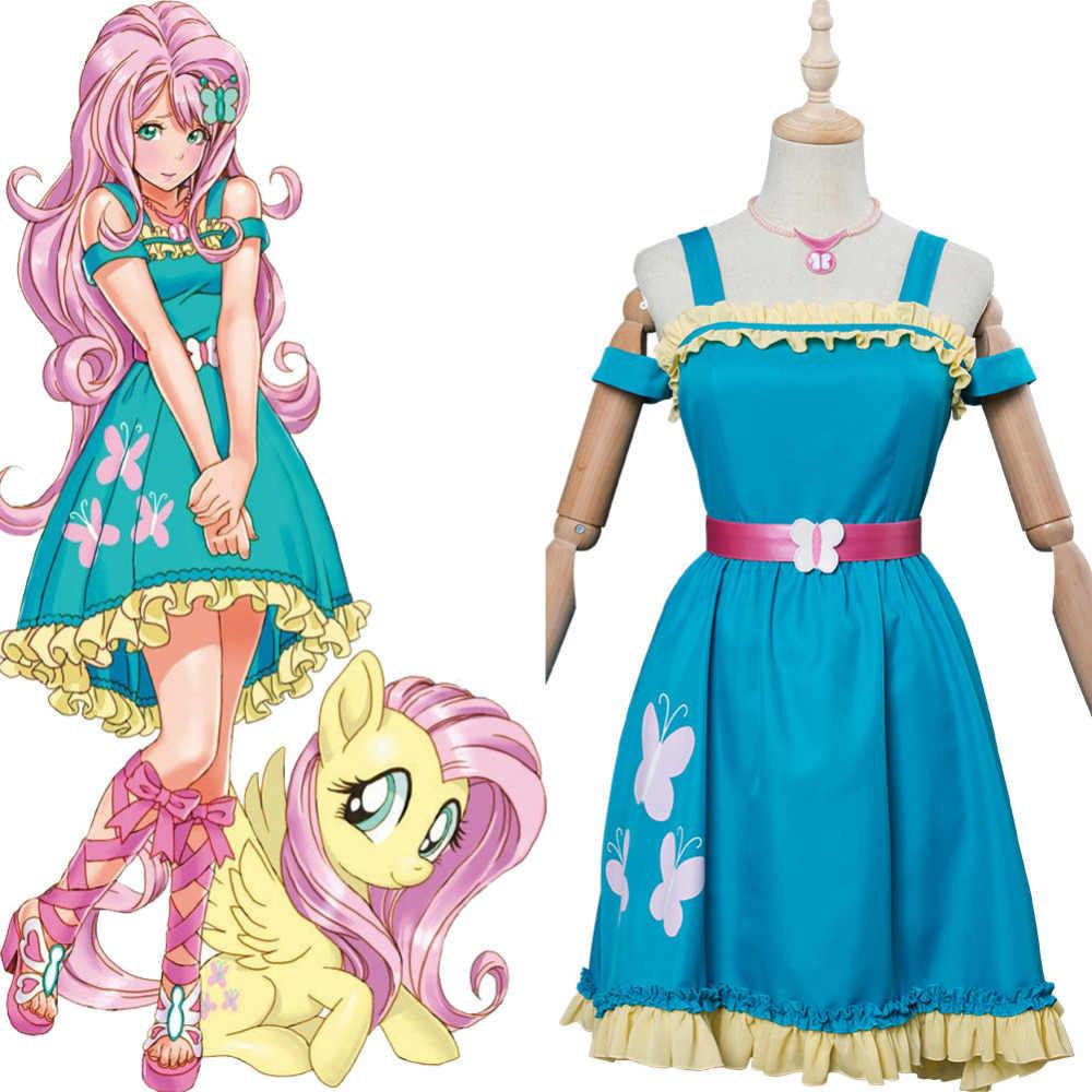 Mlp Little Pony Fluttershy Blue Lace Sleeveless Skirt Cosplay Costume Dress Aliexpress