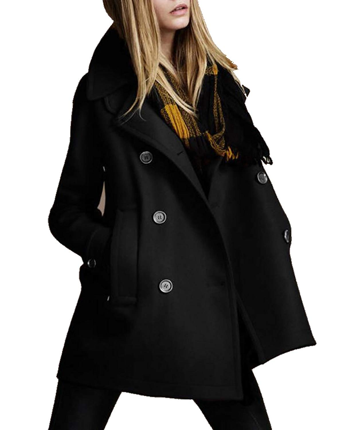 A Casual Peacoat Solide B Revers Double Slim Trench Breasted Manteau 5qwUnZ8