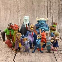 Disney Movie Zootopia Cartoon Aiunci Toys 12pcs/lot 4~7cm Nick Fox Judy Zootropolis Utopia Animal PVC Action Figure Toys Dolls