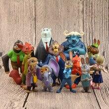 Jouets figurines de dessin animé, Disney Zootopia Aiunci, jouets daction, animaux en PVC, Nick Fox Judy, 4 7cm, 12 pièces/lot