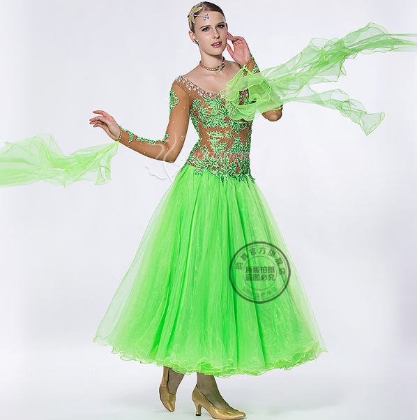 customize green patchwork Ballroom Fox trot Quick step tango Modern tango Waltz competition Dance  Dress long mesh sleeve
