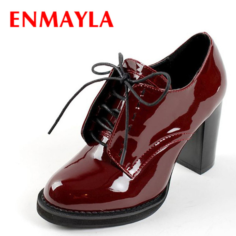 ФОТО ENMAYLA Fashion Spring Women's Shoes High Heels Ankle Boots Lace-Up Platform Heeled Women Boots For Women Wedding Shoes Size 43