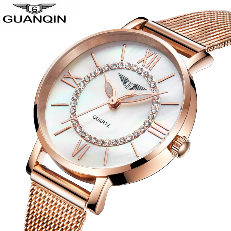 GUANQIN Ladies Watches Gold Watch Women Dress Top Brand Women's Fashion Stainless Steel Bracelet Quartz Watch Relogio Feminino waterproof diving light photography diver lamps camera flashlight 6x xml l2 4x xpe red 4x xpe blue led uv flashlight