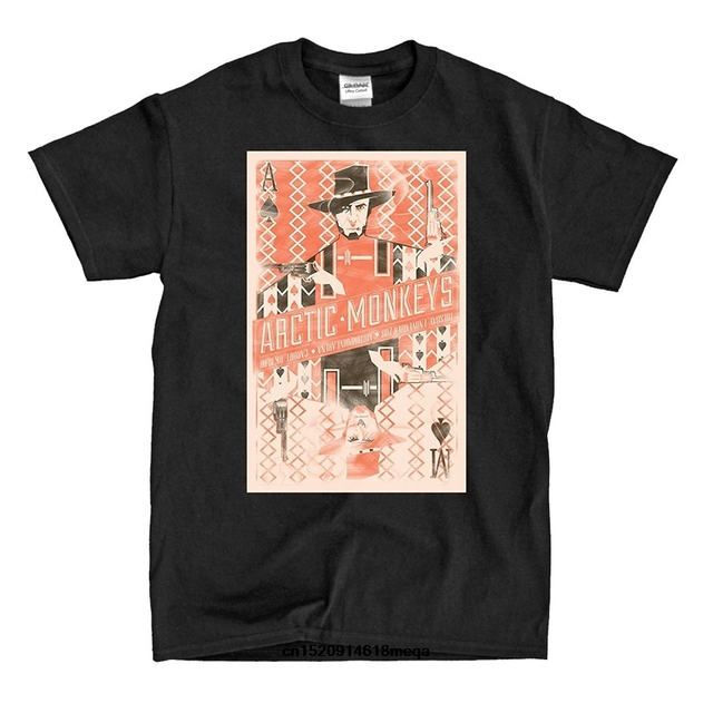 215d6dd1 t shirt Men Short Sleeve T Shirt Artic Monkeys Cowboy Poster black T-Shirt  Cotton Cause Printed Tee Shirts