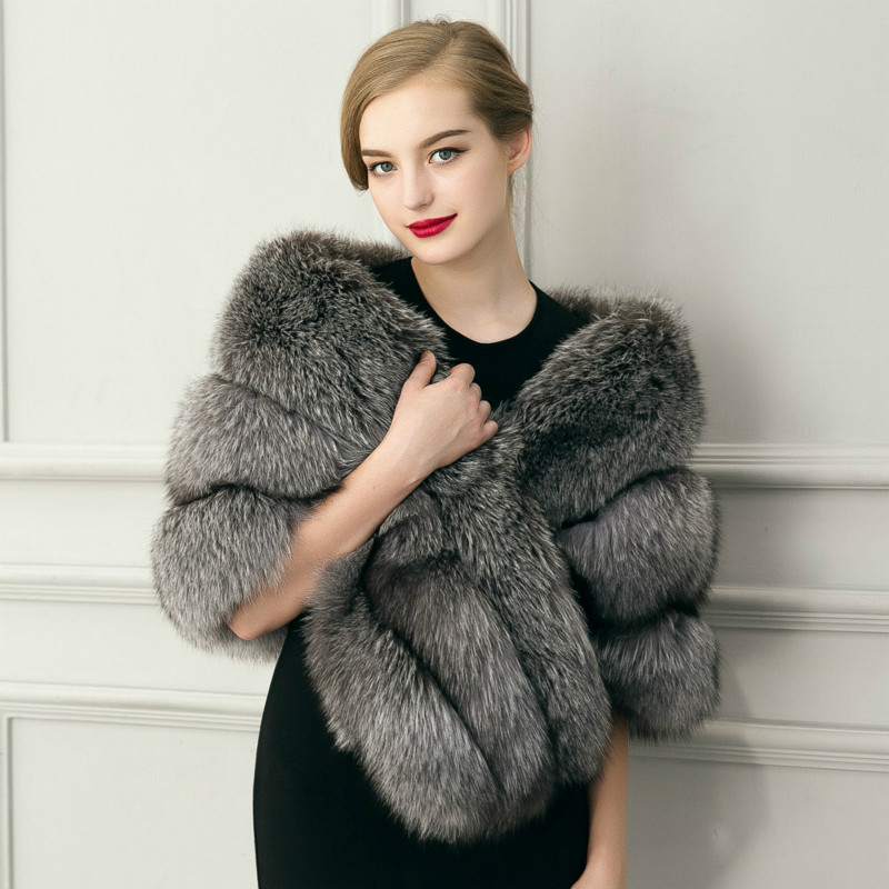 1Pc Luxury Warm   Scarves     Wraps   imitation fox fur shawl Faux Mink Fur   scarf   cape Coat Leather grass cloak shawl 155x42cm Pashmina