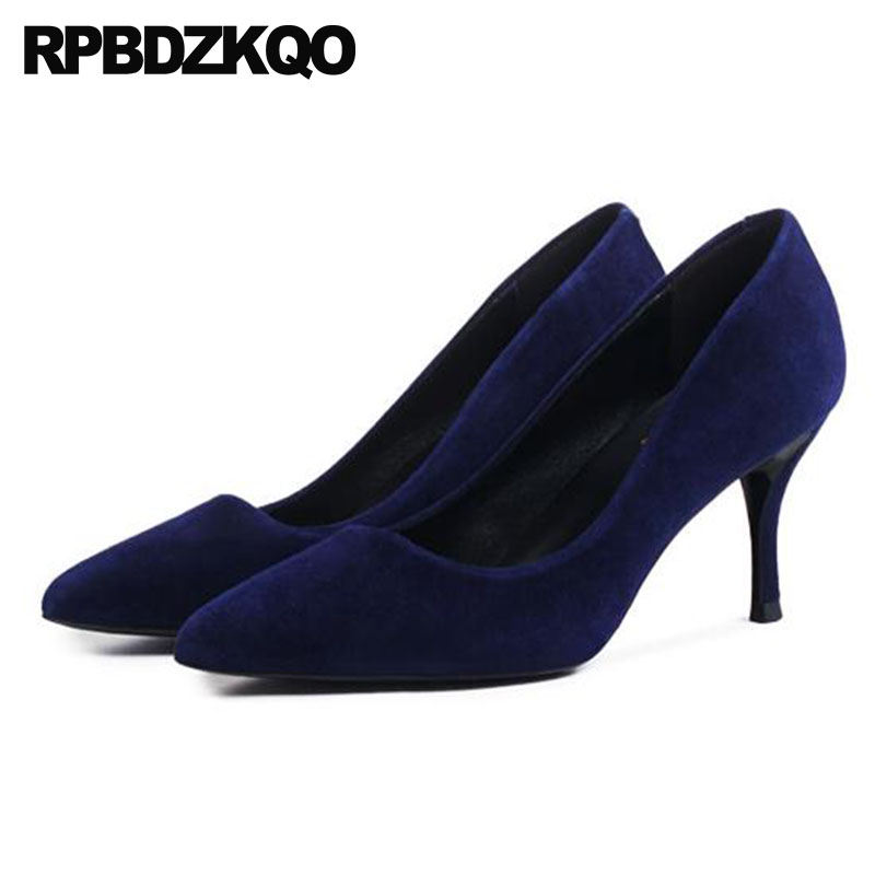 suede thick size 4 34 genuine leather high heels ladies luxury navy blue pumps sexy top quality pointed toe shoes 2018 designer цена 2017