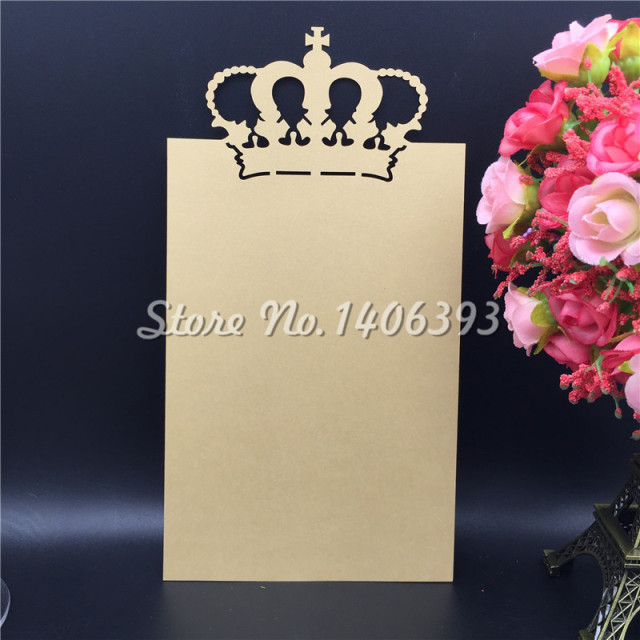 20pcs Laser Cut Crown Table Place Card Wedding Party Menu Favor Decoration Diy