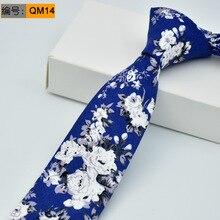 6cm Mens Print Slim Neck Tie 2017 Men Accessories Cotton Wedding Floral Ties for