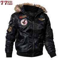 Talla grande 4XL Thicken militar invierno bombardero chaqueta termal Down algodón Parkas hombres Casual Faux Fur Collar hombre invierno