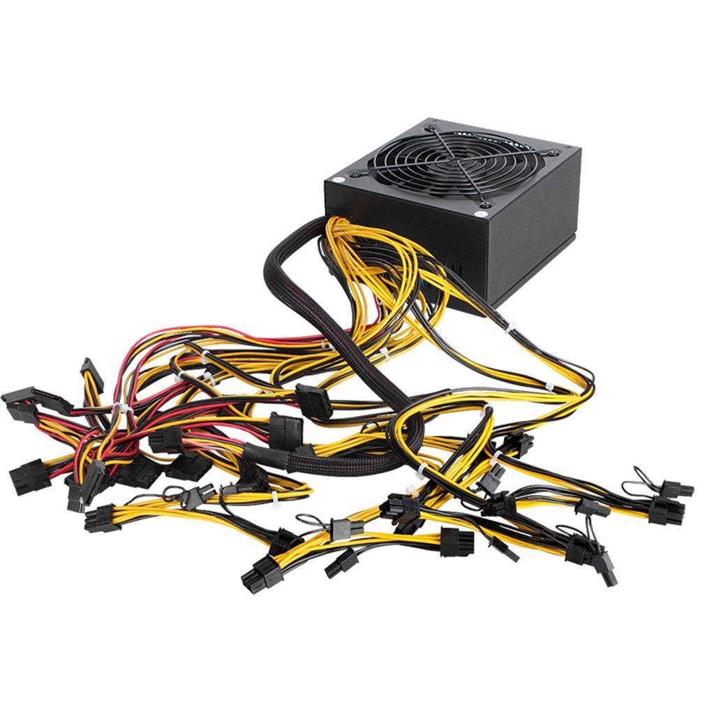 1600W ATX Power Supply PFC 9 Blades Fan For Eth Rig Ethereum Coin Miner Mining 8 SATA Interfaces Power Supply 110v 200v to 240v