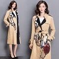 2016 новых женских вышитые старинные кружева долго замшевую куртку женщины основные пальто chaquetas mujer casacos куртка