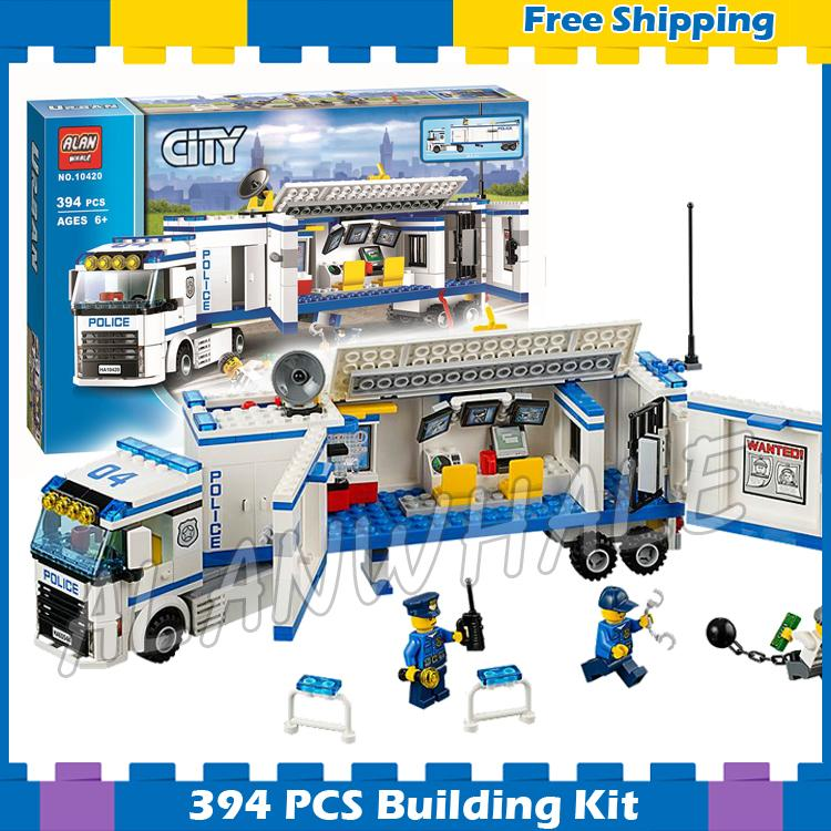 394pcs City Police Mobile Police Unit New 10420 Building Blocks Action Figures Model Boys Girls Kids Sets Compatible With lego 519pcs city police station building blocks action figures set transform robot compatible with 60047 for kid gift