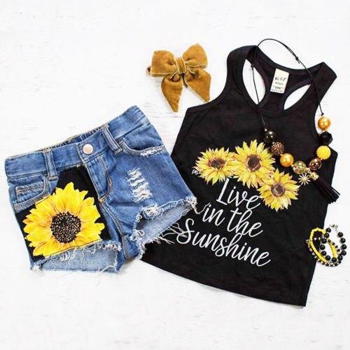 ひまわり幼児ガールセット服ノースリーブベストタンクトップ + ショートパンツ夏の服装セット服