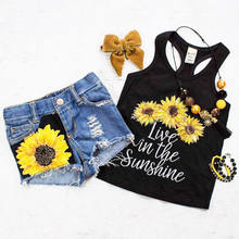 Sunflower Toddler Baby Girl set Clothes sleeveless letter Vest Tank Top+Short Pants Summer Outfits set clothes(China)