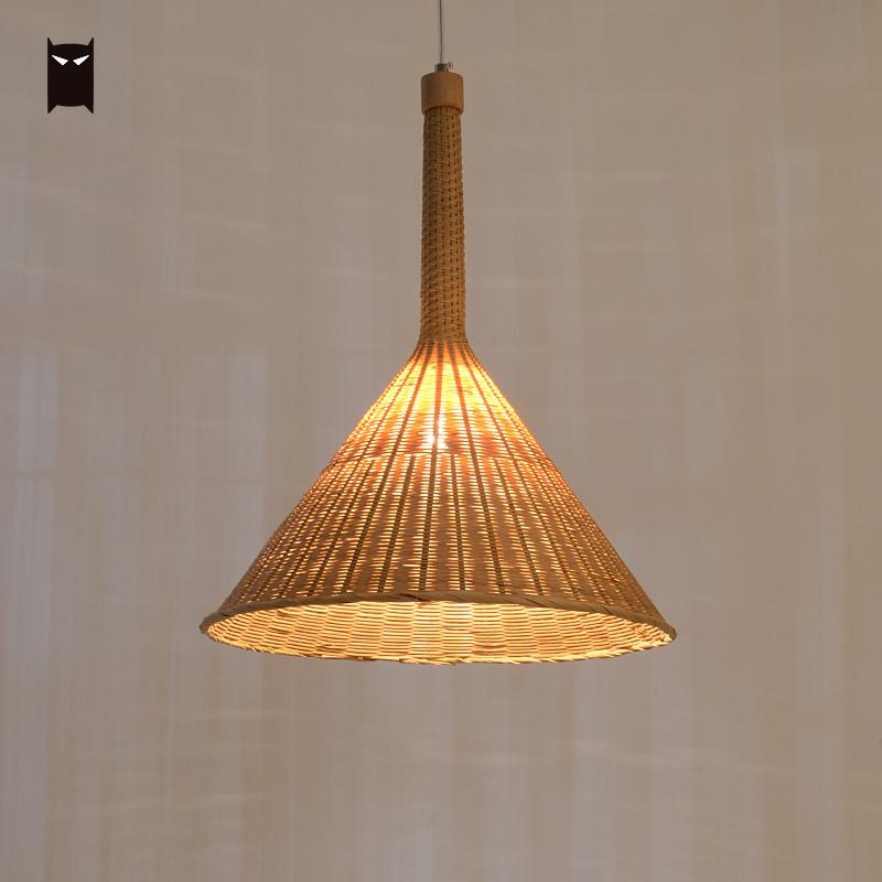 40cm Bamboo Wicker Rattan Shade Pendant Lighting Fixture Rustic Chinese Asian Hanging Ceiling Lamp for Lounge Office Counter Bar