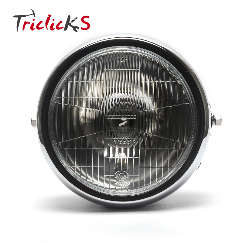Triclicks 7 Pouce 60 W 3500 K Ambre LED Phares Classique Ronde Moto Phare DRL Phare Pour Yamaha YBR125 YBR 125 02-13