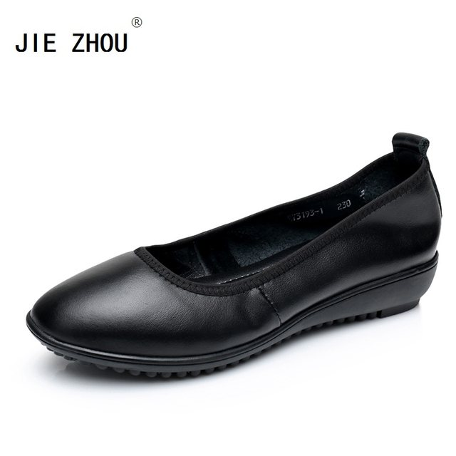 Hot Black Office Work Shoes Woman Flat Genuine Leather Casual Loafers Breathable Soft Bottom Women Flats