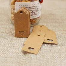 4*2CM 100pc scallop kraft blank paper tag heart cut gift/products/wedding favors display mini cute hang tag custom available