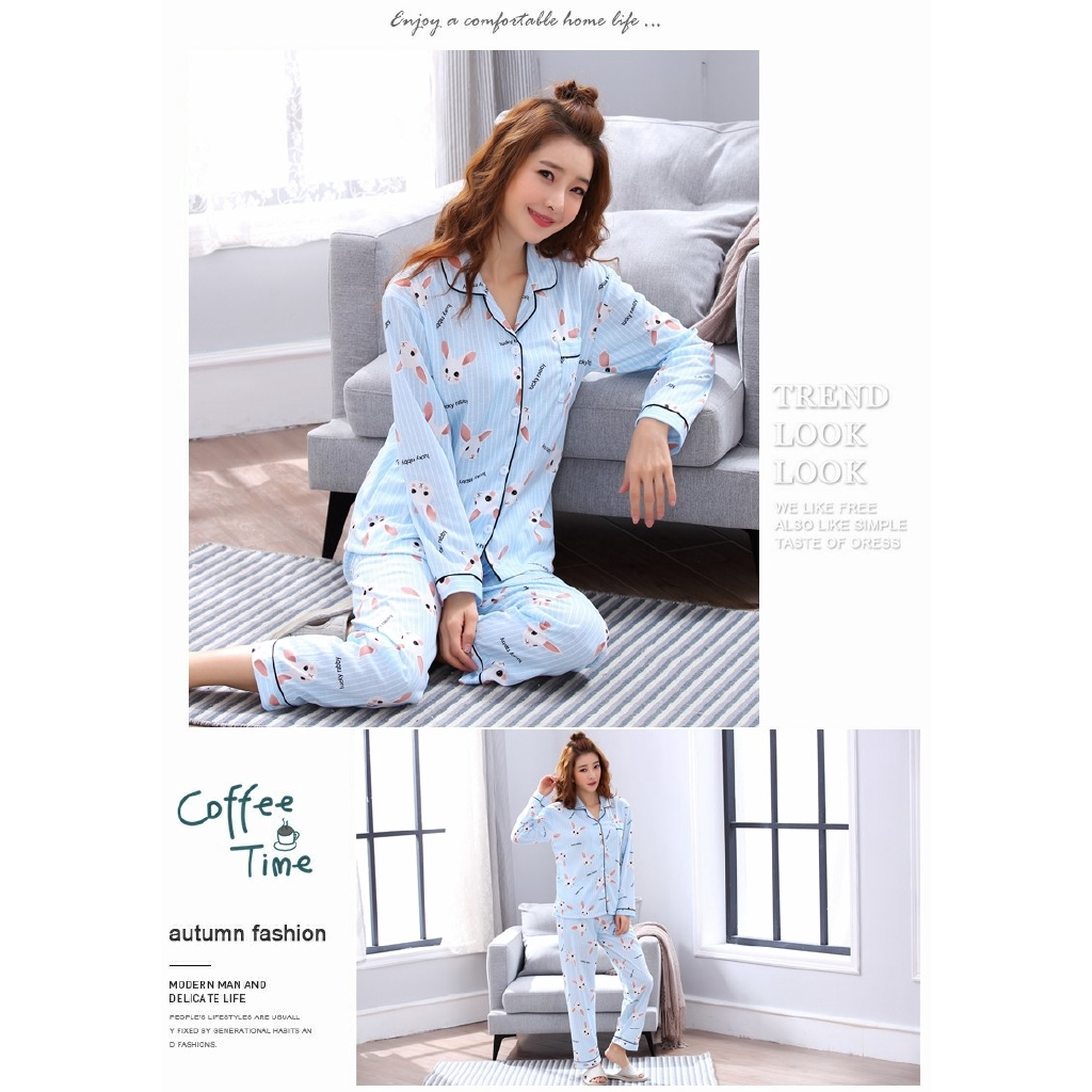 bd774c6db2 Women Clothes Autumn Pajamas Long sleeved Knit Suits Girl Fashion Casual  Outerwear Sleepwear Night Suit -in Pajama Sets from Underwear   Sleepwears  on ...