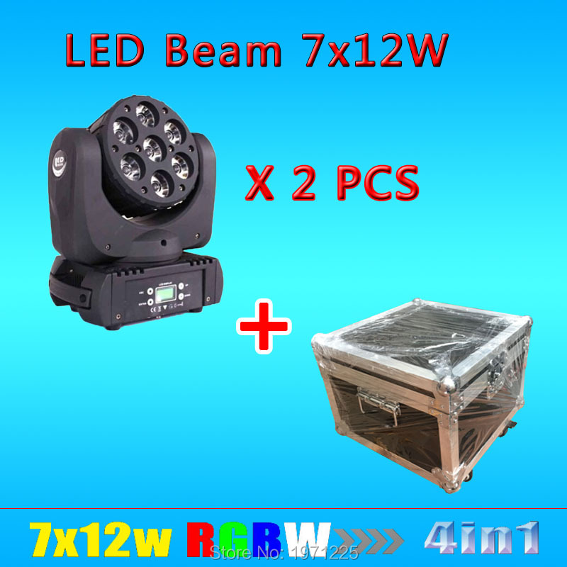 Flight Case+2PCS  7x12W LED Beam Moving Head Light CREE RGBW 4in1 7x12W Led moving head light,with Cree lamp,DMX512 9/16Channels
